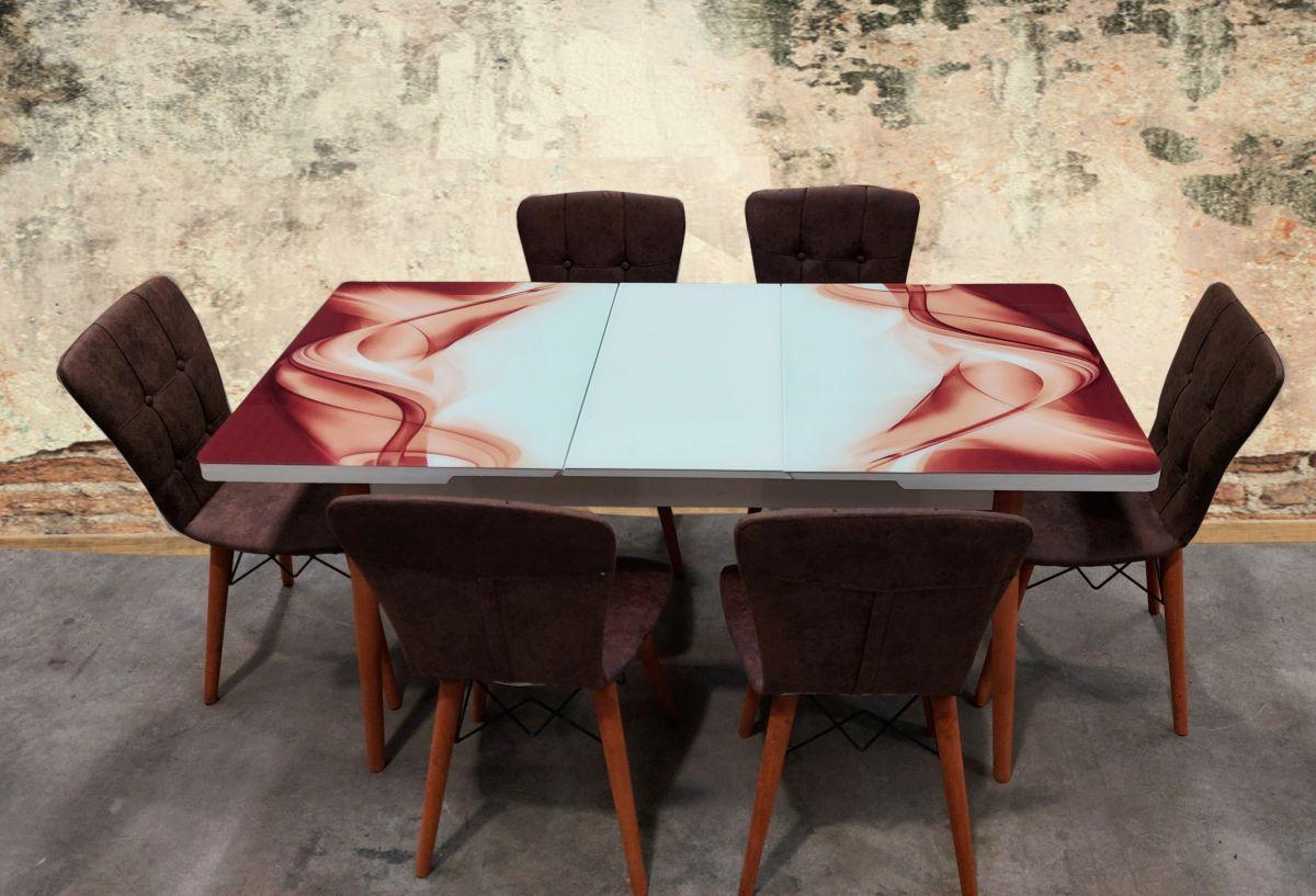 Set masa extensibila picioare lemn, blat sticla securizata +6 scaune tapitate Fusion Homs terracotta-maro 80x 170cm