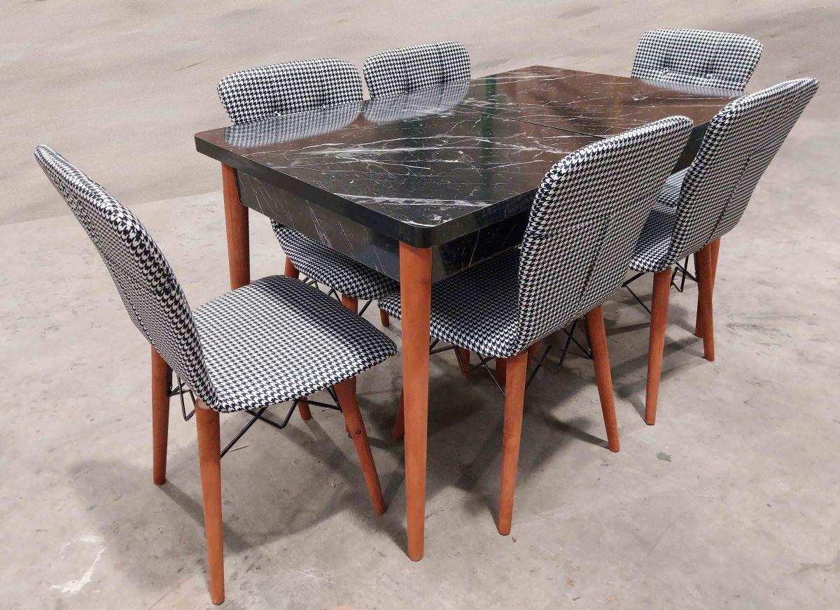 Set masa extensibila cu 4 scaune tapitate Homs cristal negru-caro110 x 70 cm