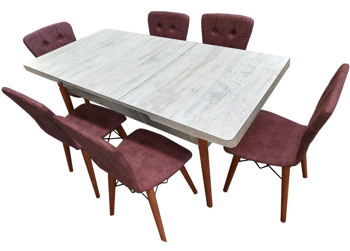 Set masa extensibila cu 6 scaune tapitate Homs cristal alb-roz 170 x 80 cm