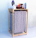 Cos de rufe din lemn cu un compariment textil Homs50 x 44 x 85 cm