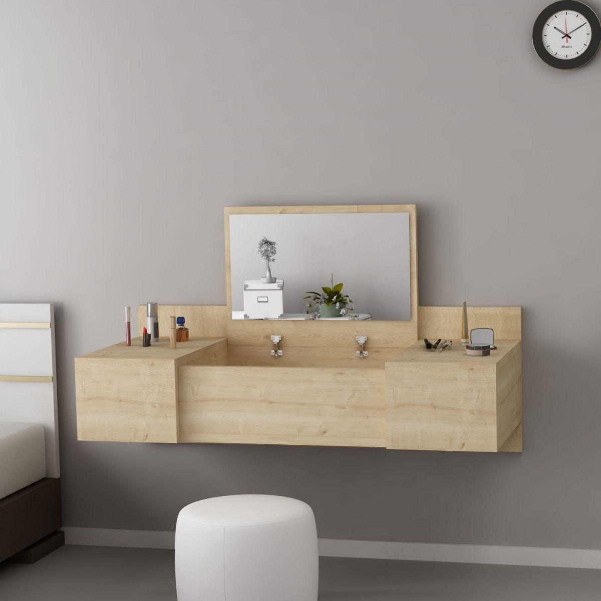 Masa de machiaj suspendata Vanity Homs , 100 x 33 x 39.1 cm, Stejar