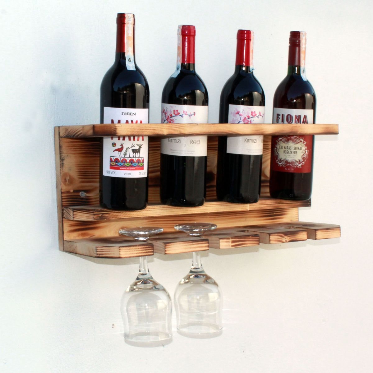 Suport 4 sticle si pahare din lemn ars Homs 50 x 15 x 20 cm , Maro